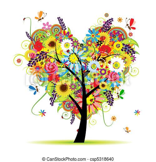 coeur, été, floral, arbre, forme - csp5318640