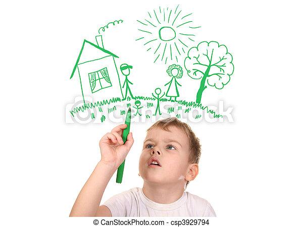 collage, stylo, dessin, feutre, famille, garçon, sien - csp3929794