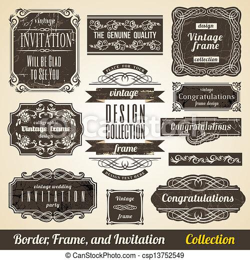 collection., cadre, calligraphic, invitation, coin, élément, frontière - csp13752549