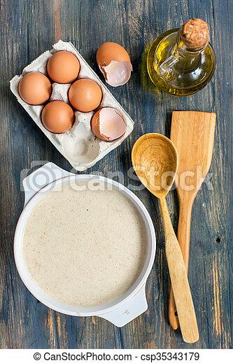 confection, vue, pâte, above., pancakes. - csp35343179