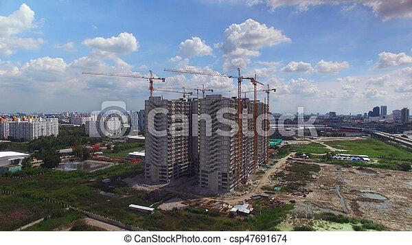 construction, aérien, site, vue - csp47691674