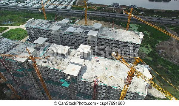 construction, aérien, site, vue - csp47691680