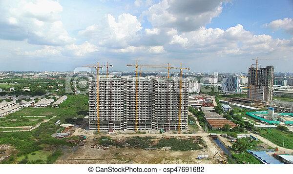 construction, aérien, site, vue - csp47691682