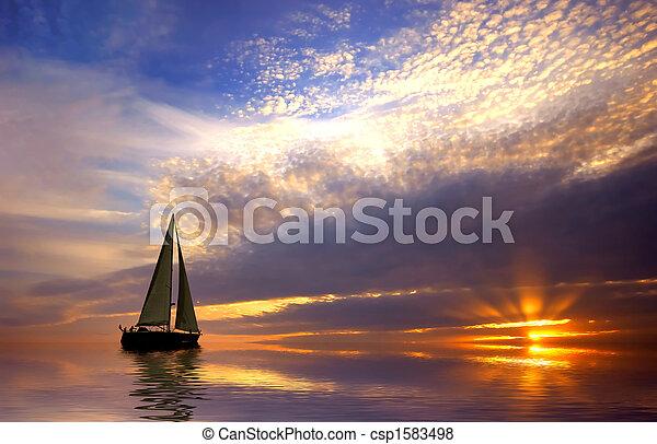 coucher soleil, voile - csp1583498