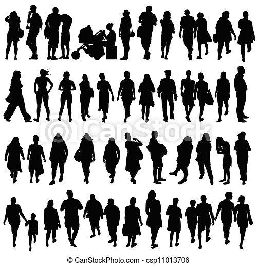 couleur, noir, vecteur, silhouette, gens - csp11013706