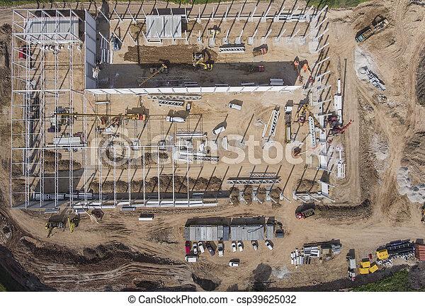 coup, site construction, above. - csp39625032