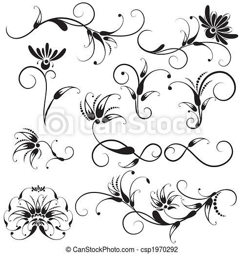 décoratif, éléments floraux, conception - csp1970292