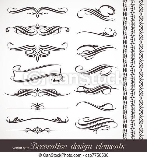 décoratif, décor, éléments, &, vecteur, conception, page - csp7750530