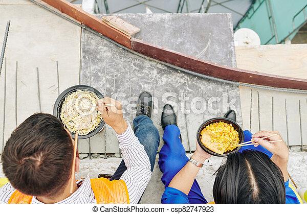 déjeuner, ouvriers, avoir - csp82747923