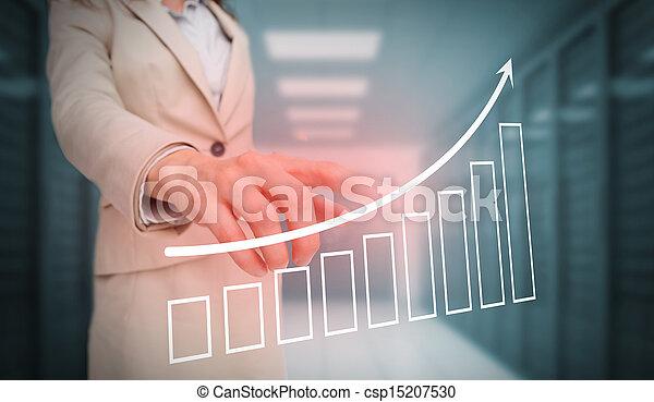 diagramme, barre, toucher, femme affaires - csp15207530
