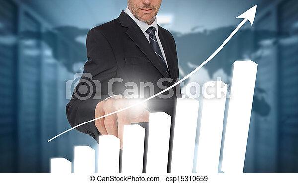 diagramme, homme affaires, inte, toucher, barre - csp15310659