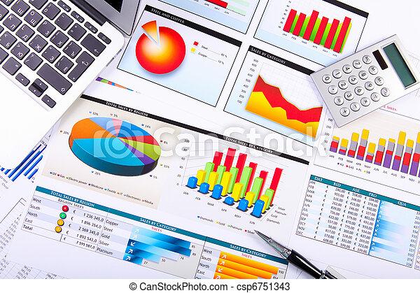 diagrammes, table., graphiques, business - csp6751343