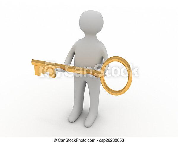 doré, autre, donner, personne, clã©, homme, 3d - csp26238653