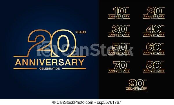 doré, ensemble, emblème, card., affiche, prospectus, logotype., magazine, anniversaire, livret, salutation, conception, toile, invitation, brochure, ou, célébration - csp55761767