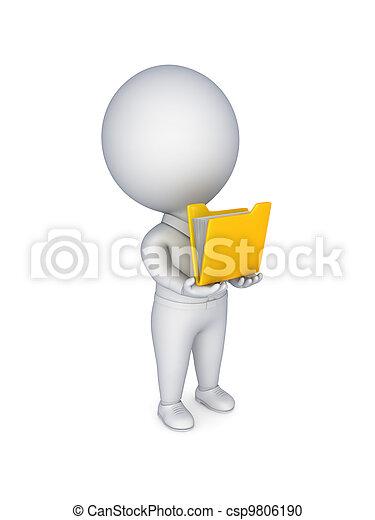 dossier, hands., personne, jaune, 3d, petit - csp9806190