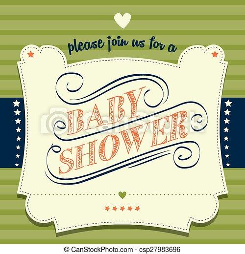 douche, bébé, style, retro, invitation - csp27983696