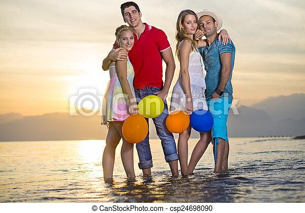 eau, couples, paires, mer, doux - csp24698090