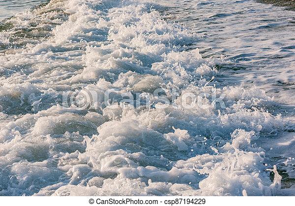 eau, mer, vague, sunset. - csp87194229