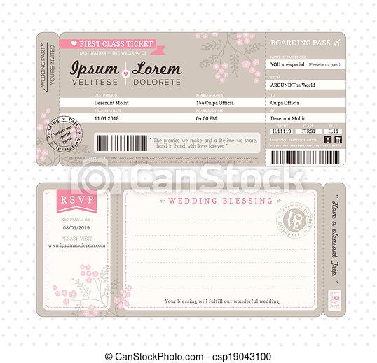 embarquement, invitation, passe, gabarit, mariage - csp19043100