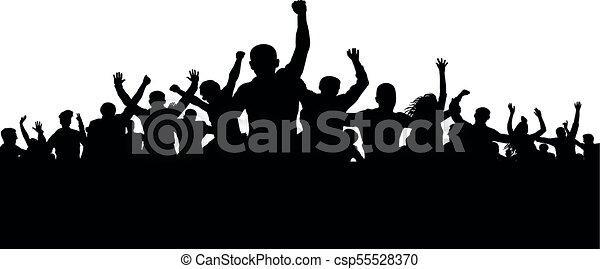 fâché, silhouette, foule, gens, fâché, protesters, vecteur, foule - csp55528370