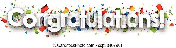 félicitations, papier, banner. - csp38467961
