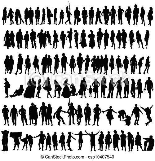femme, silhouette, gens, vecteur, noir - csp10407540