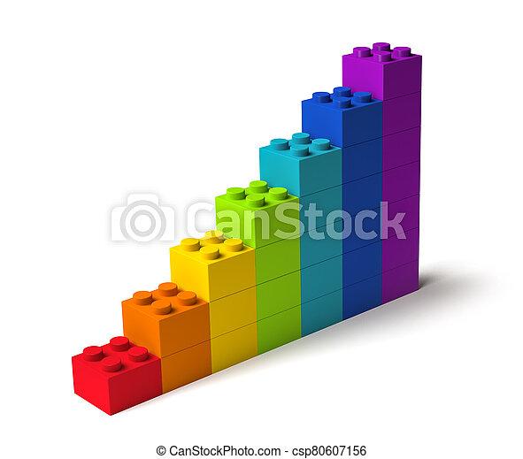ferme, blocs, bâtiment, croissance, 3d, couleurs, arc-en-ciel - csp80607156