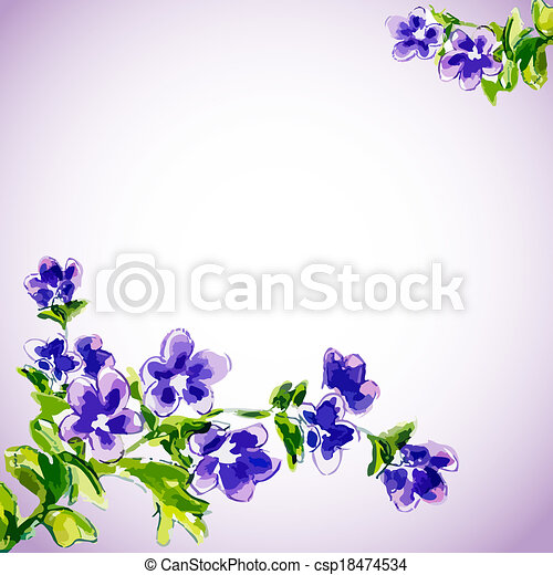 fleurs, printemps, invitation, gabarit - csp18474534