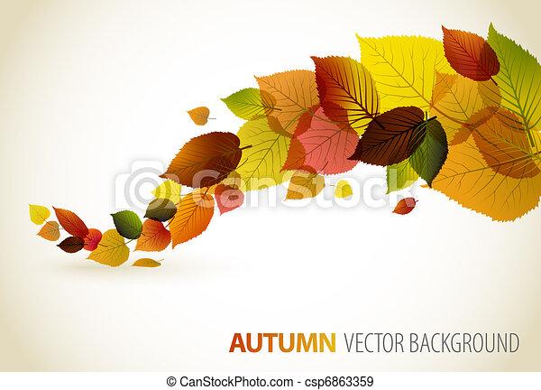 floral, résumé, fond, automne - csp6863359