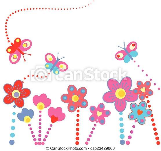 floral, résumé, fond - csp23429060