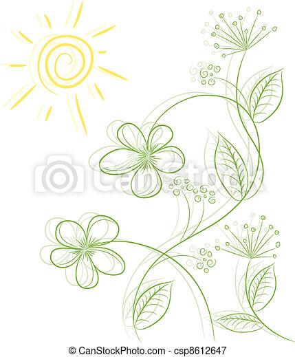 floral, résumé, vecteur, fond - csp8612647