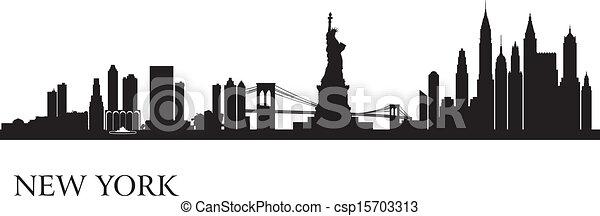 fond, horizon, ville, york, nouveau, silhouette - csp15703313
