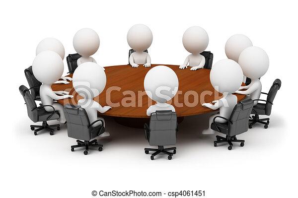 gens, -, derrière, séance, petit, table, rond, 3d - csp4061451