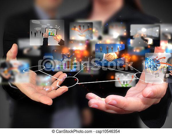gens, tenue, média, social, business - csp10546354
