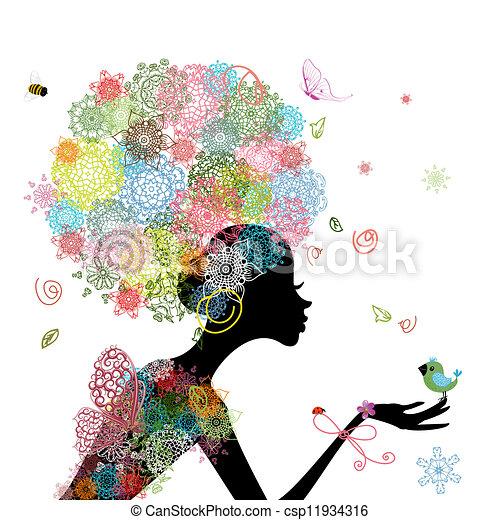 girl, mode, fleurs - csp11934316