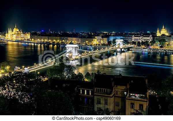 hongrie, budapest, nuit - csp49060169