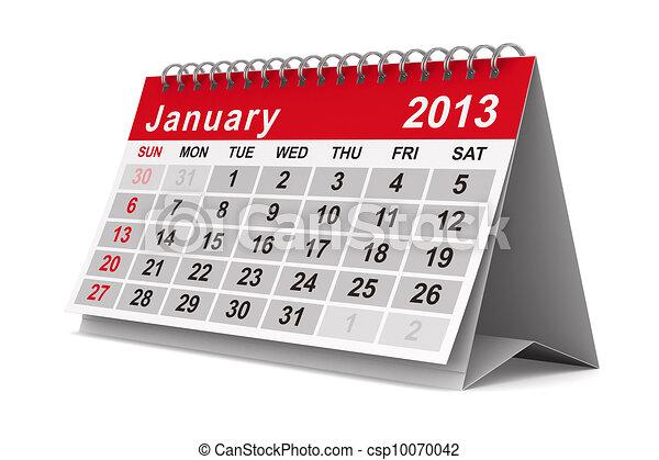 image, january., isolé, calendar., année, 2013, 3d - csp10070042
