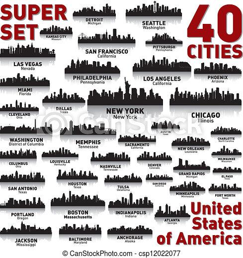 incroyable, etats, uni, set., horizon, ville, america. - csp12022077