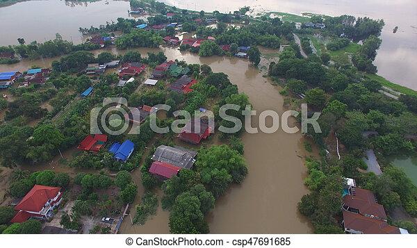 inondation, vue aérienne - csp47691685