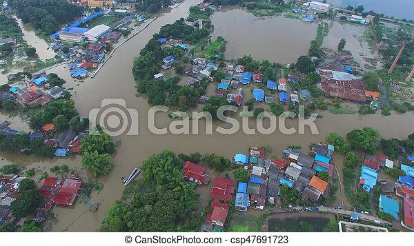 inondation, vue aérienne - csp47691723