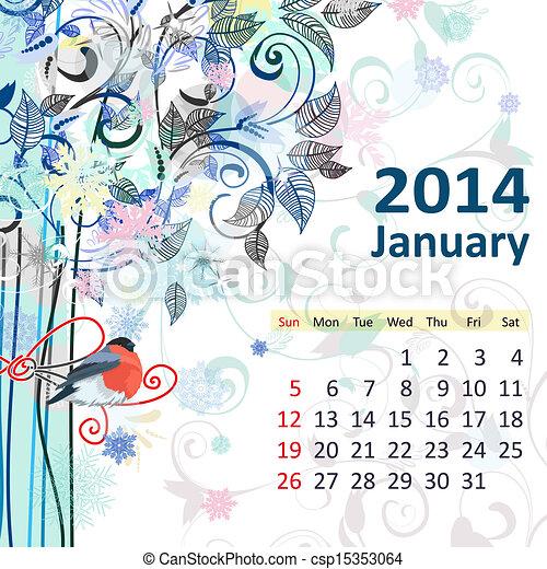 janvier, calendrier, 2014 - csp15353064