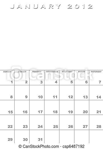 janvier, calendrier, gabarit, 2012 - csp6487192
