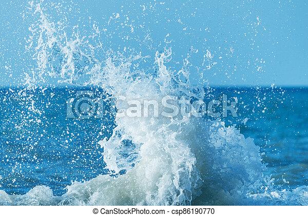 jour ensoleillé, eau, vague, mer, time. - csp86190770