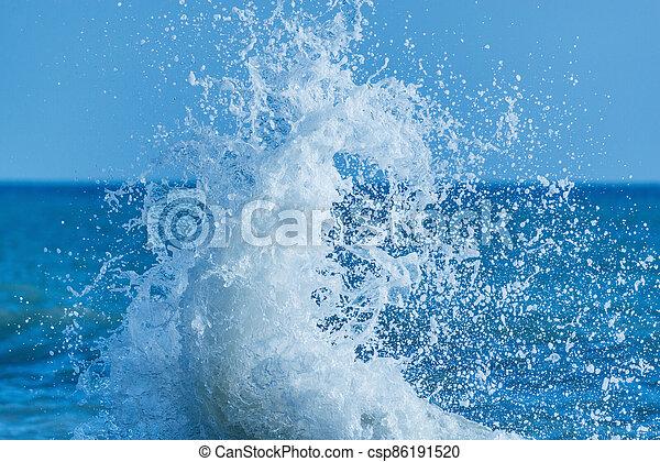 jour ensoleillé, eau, vague, mer, time. - csp86191520