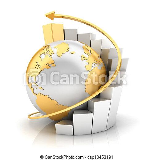 la terre, graphique barre, business, 3d - csp10453191