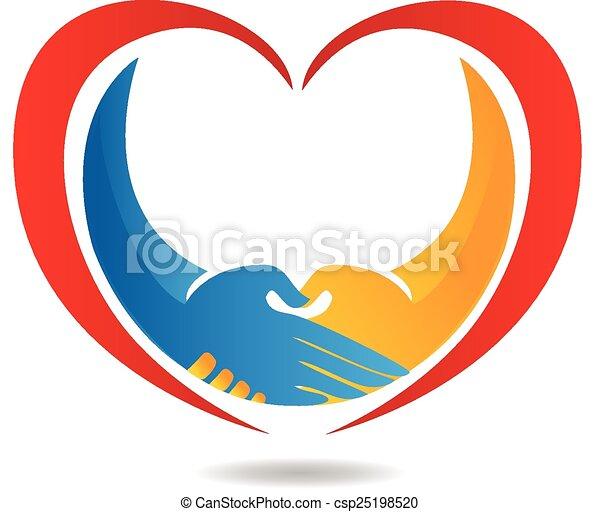 logo, coeur, business, poignée main - csp25198520