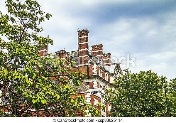 londres, bâtiment, partie, vieux, central, sommet - csp33625114