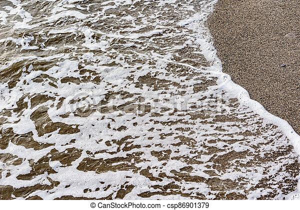 mer, vague, soir, eau, time. - csp86901379