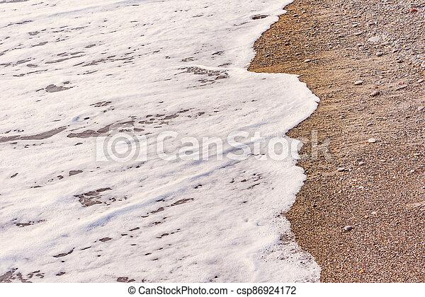 mer, vague, soir, eau, time. - csp86924172