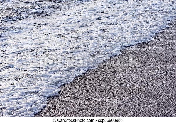 mer, vague, soir, eau, time. - csp86908984